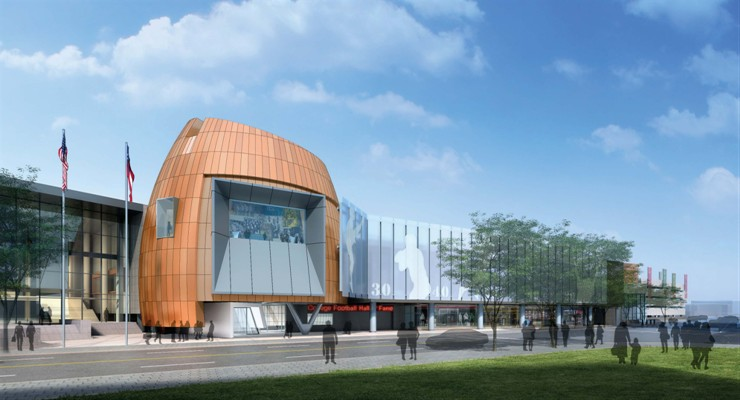 A rendering of the new College Football Hall of Fame being built in Atlanta